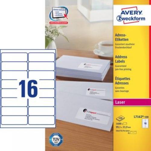Белые адресные этикетки QuickPEEL из бумаги, 99.1 x 33.9, L7162-100