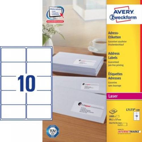 Белые адресные этикетки QuickPEEL из бумаги, 99.1 x 57, L7173-100