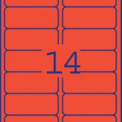 Неоновые красные этикетки из бумаги, 99.1 x 38.1, L7263R-25