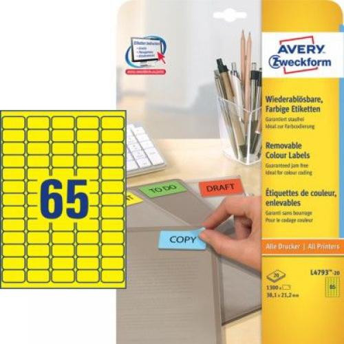 Желтые бумажные мини-этикетки, 38.1 x 21.2, L4793-20