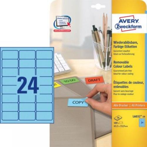 Голубые бумажные этикетки, 63.5 x 33.9, L6032-20