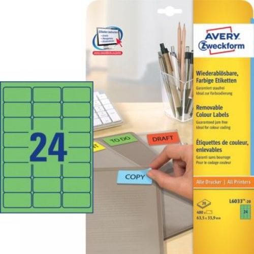 Зеленые бумажные этикетки, 63.5 x 33.9, L6033-20