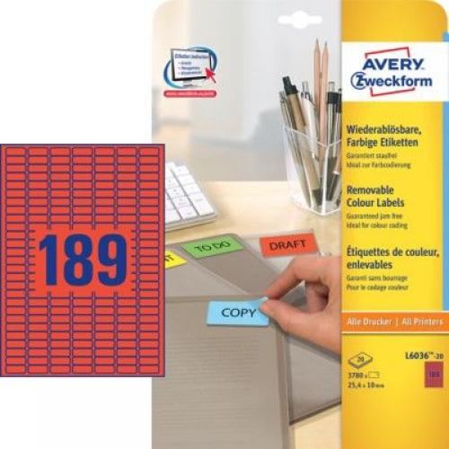 Красные бумажные мини-этикетки, 25.4 x 10, L6036-20