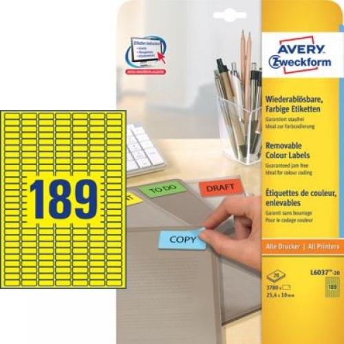 Желтые бумажные мини-этикетки, 25.4 x 10, L6037-20