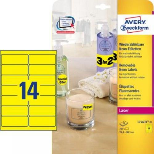 Неоновые желтые этикетки из бумаги, 99.1 x 38.1, L7263Y-25