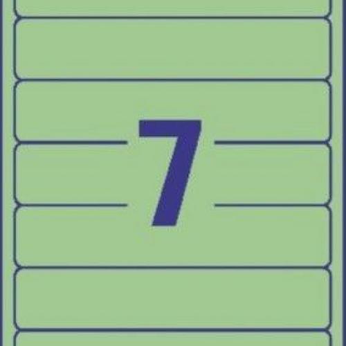 Зеленые короткие непрозрачные этикетки из бумаги для папок, 192 x 38, L4764-20