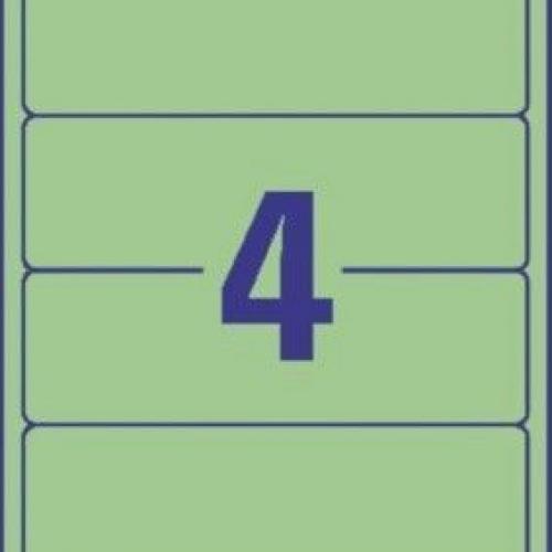 Зеленые короткие непрозрачные этикетки из бумаги для папок, 192 x 61, L4768-20