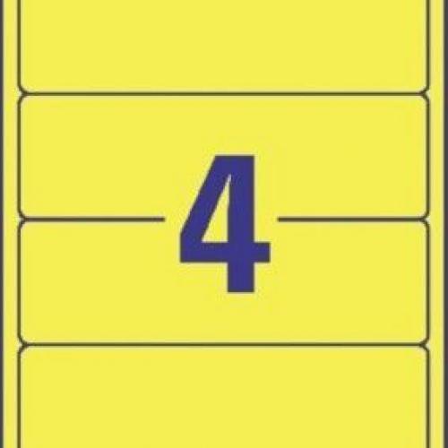 Желтые непрозрачные этикетки из бумаги для папок, 192 x 61, L4769-100