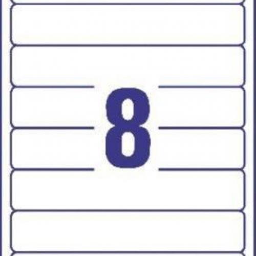 Белые короткие непрозрачные этикетки из бумаги для папок, 192 x 34, L6060-25
