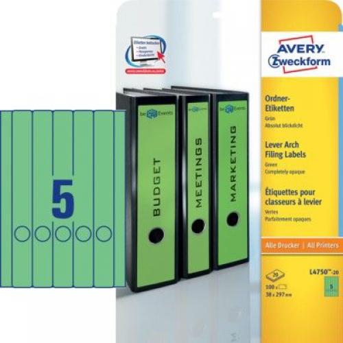 Зеленые длиные непрозрачные этикетки из бумаги для папок, 38 x 297, L4750-20