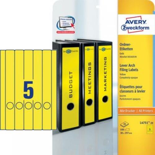 Желтые длиные непрозрачные этикетки из бумаги для папок, 38 x 297, L4751-20