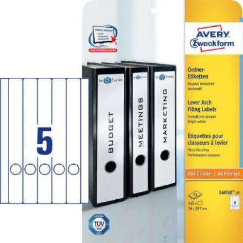 Белые длиные непрозрачные этикетки из бумаги для папок, 34 x 297, L6058-25