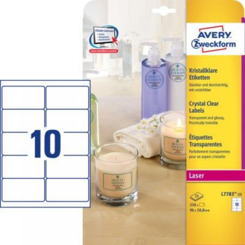 Прозрачные этикетки из полиэстера, 96 x 50.8, L7783-25