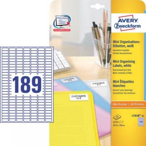 Белые бумажные мини-этикетки, 25.4 x 10, L7658-25