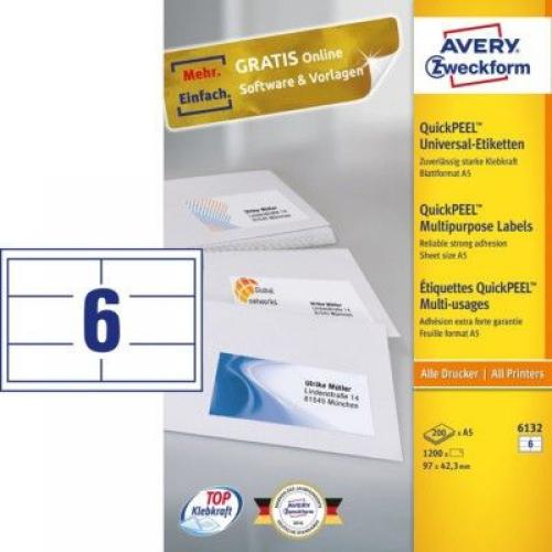 Универсальные белые этикетки из бумаги, 97 x 42,3, 6132