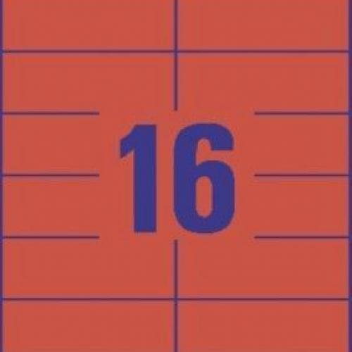 Универсальные красные этикетки из бумаги, 105 x 37, 3452