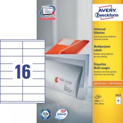 Белые универсальные этикетки из бумаги, 105 x 35, 3423