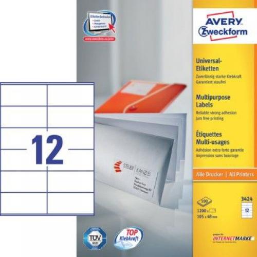 Белые универсальные этикетки из бумаги, 105 x 48, 3424