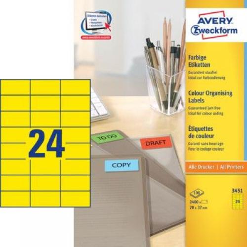 Универсальные жёлтые этикетки из бумаги, 70 x 37, 3451