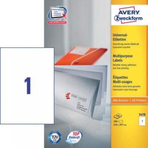 Белые универсальные этикетки из самоклеющейся бумаги, 210 x 297, 3478