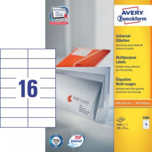 Белые универсальные этикетки из бумаги, 105 x 37, 3484
