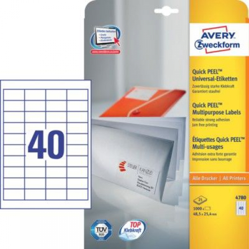 Универсальные белые этикетки из бумаги, 48.5 x 25.4, 4780