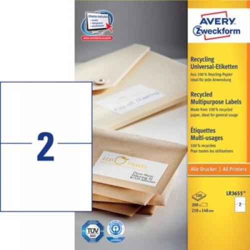 Белые универсальные эко- этикетки из бумаги, 210 x 148, LR3655