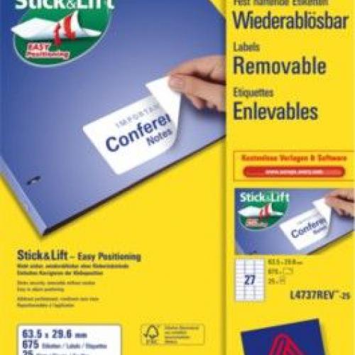 Удаляемые белые этикетки из бумаги, 63.5 x 29.6, L4737REV-25