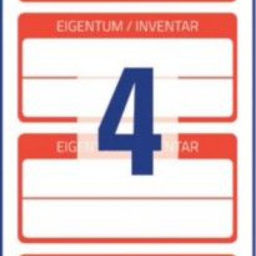 Красные ламинированные инвентарные этикетки из полиэстера, 60 x 30, 6904
