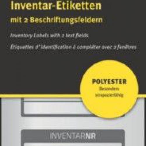 Чёрные инвентарные этикетки из полиэстера с 2 полями для текста, 50 x 20, 6909