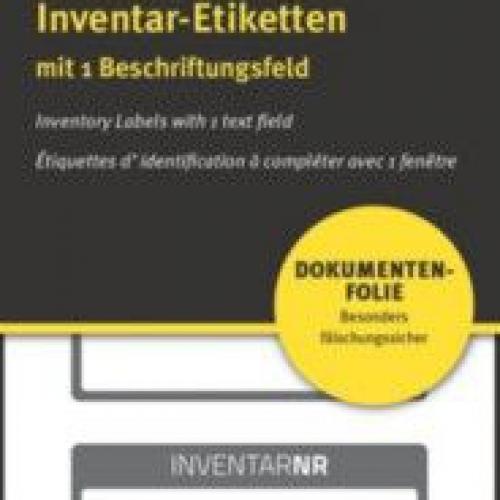 Чёрные инвентарные этикетки NoPeel из ПВХ с 1 полем для текста, 50 x 20, 6917