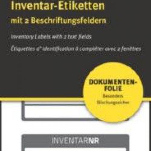 Чёрные инвентарные этикетки NoPeel из ПВХ с 2 полями для текста, 50 x 20, 6918
