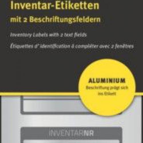 Чёрные инвентарные этикетки из алюминия с 2 полями для текста, 50 x 20, 6921