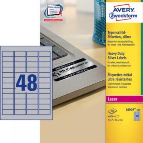 Металлизированные этикетки из полиэстера, 45,7 x 21,2, L6009-100