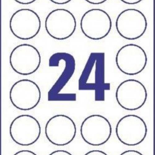 Белые круглые этикетки- пломбы из полиэстера, ? 40, L6112-20