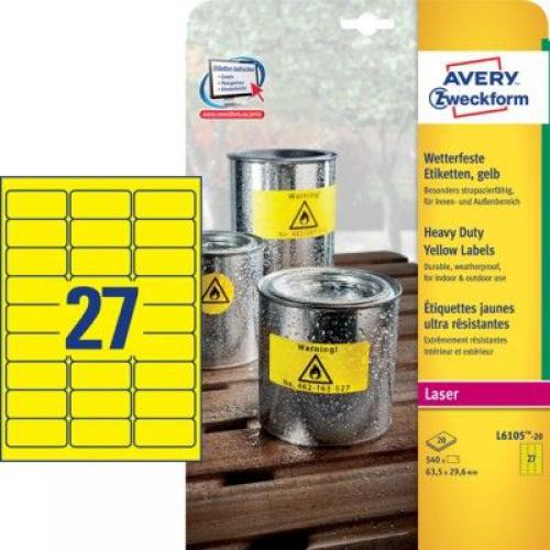 Желтые высокопрочные этикетки из полиэстера, 63.5 x 29.6, L6105-20