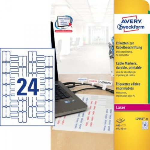 Белые полиэстеровые этикетки для маркировки проводов и кабелей, 60 x 40, L7950-20
