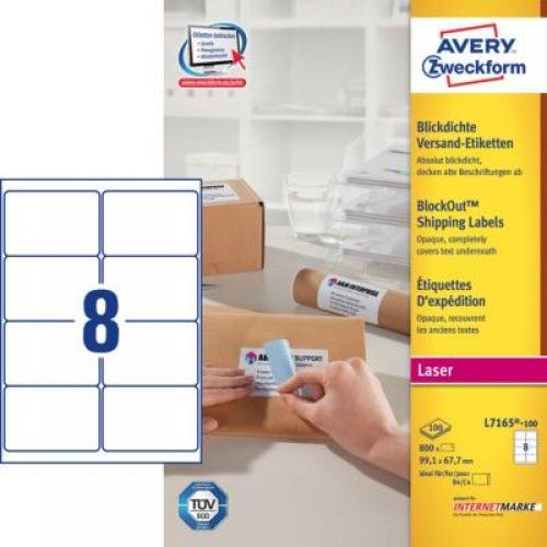 Белые непросвечивающиеся этикетки BlockOut из бумаги, 99.1 x 67.7, L7165-100