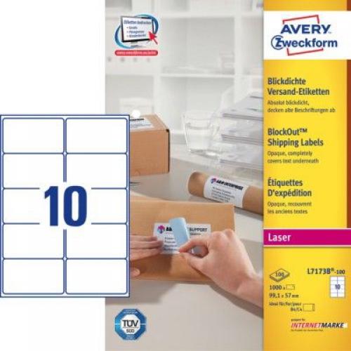 Белые непросвечивающиеся этикетки BlockOut из бумаги, 99.1 x 57, L7173B-100